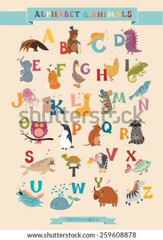 alphabet   animal vector set