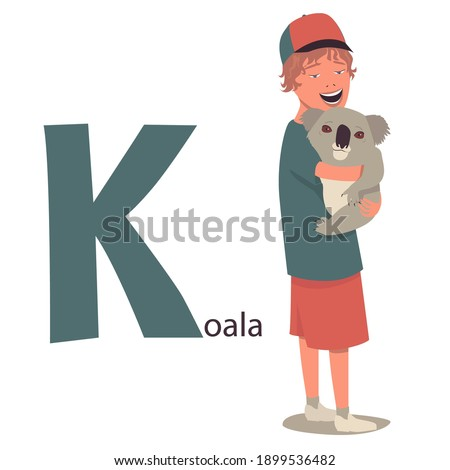 Alphabet animals for children. Letter K -koala. A young boy smiles and holds a cute little koala in his arms. Сartoon illustration. Isolated on white background, vector.  Stok fotoğraf ©