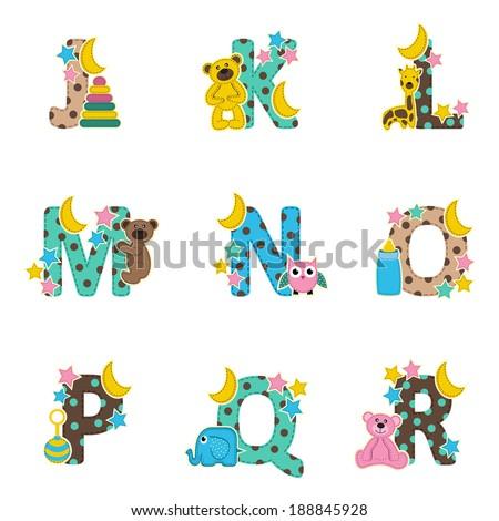 alphabet baby from J to R - vector illustration Stock fotó ©