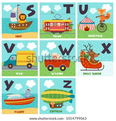 alphabet card with transport and animals S to Z - vector illustration, eps- vector illustration, eps