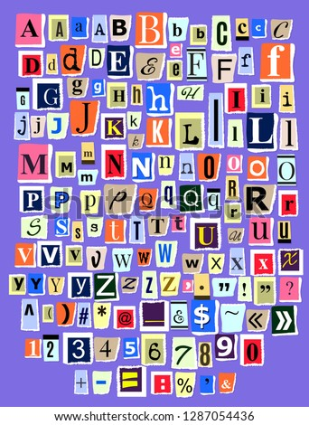 Alphabet collage ABC vector alphabetical font letter cutout of newspaper magazine and colorful alphabetic handmade cutting text newsprint illustration alphabetically typeset isolated on background
