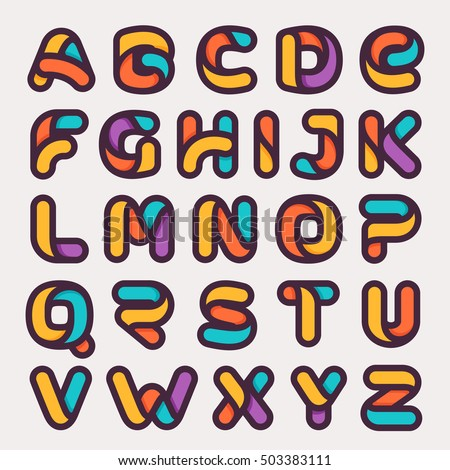alphabet colorful logos flat