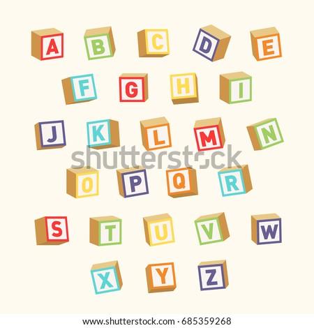 Alphabet. Colorful toy blocks, font for children education. Vector