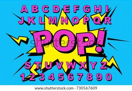 Alphabet Comic retro yellow. Letters,numbers for kids illustrations, websites, comics, banners. Vector Comic alphabet. Pop-art Cartoon ABC Lettering Font. Comics speech bubble bang for explosions.Pop!