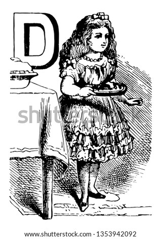 Alphabet D dealt it this picture shows a girl standing near table and holding something in her hand vintage line drawing or engraving illustration