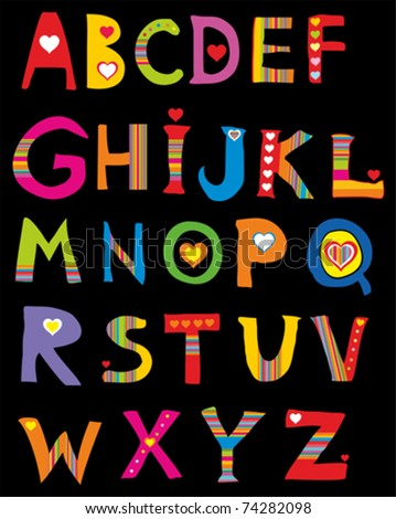Alphabet design in a colorful style. Isolated on black Background. Vector illustration