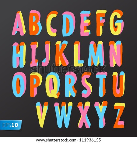 Alphabet design in colorful style, vector Eps10 illustration. - stock vector