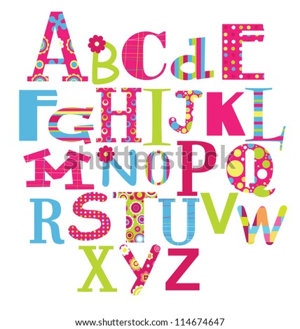 alphabet design vector illustrationgirly letters of the alphabet