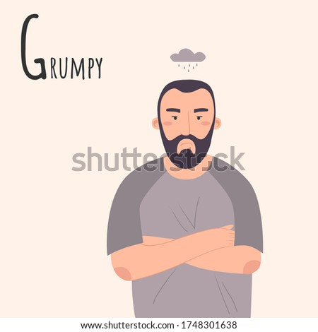Alphabet Emotions concept. Man crossed his arms over his chest. Male character grumpy and angry. Letter G - Grumpy. Vector flat cartoon illustration Stock fotó ©
