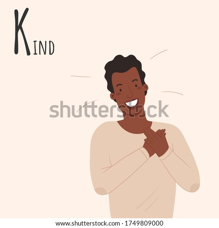 Alphabet Emotions concept. Man holds hands on his heart. Male character kind and cute. Letter K - Kind. Vector flat cartoon illustration Stok fotoğraf ©
