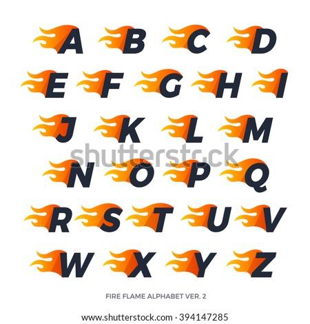 alphabet fire letters set