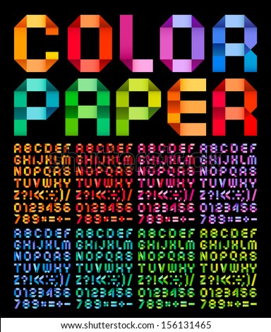 alphabet folded of ribbon paper