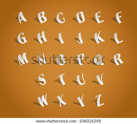 Alphabet font, cut of paper - illustration