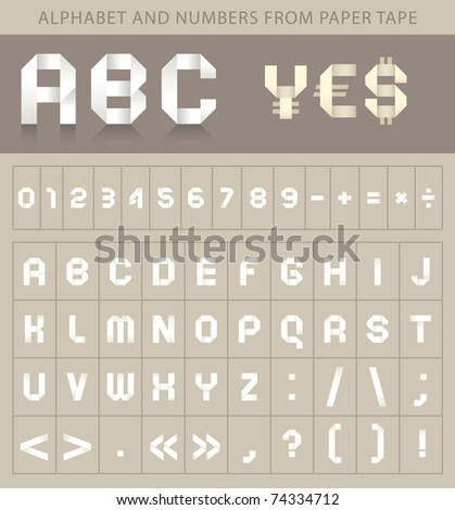 alphabet font from paper tape and currency symbols