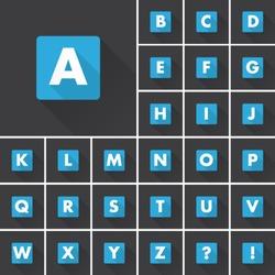 Alphabet font icons shadow