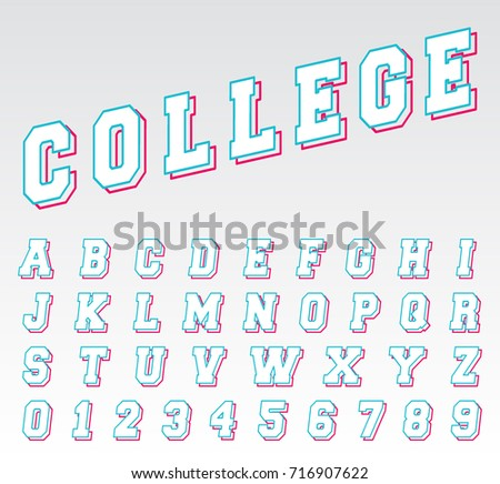 Alphabet font template. Line letters and numbers college campus design. Vector illustration.