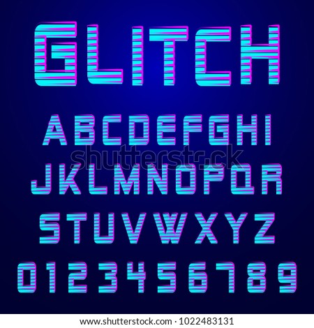 Alphabet font template. Set of letters and numbers glitch effect design. Vector illustration.