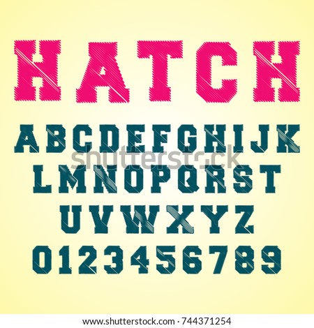 Alphabet font template. Set of letters and numbers hatch design. Vector illustration.