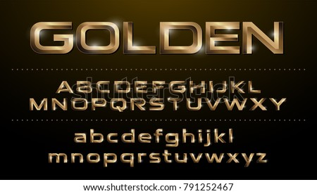Alphabet fonts. Metallic set, golden effect regular letters on a dark background. alphabet vector typeface glowing text effect. ABC, Gold lowercase and uppercase letters
