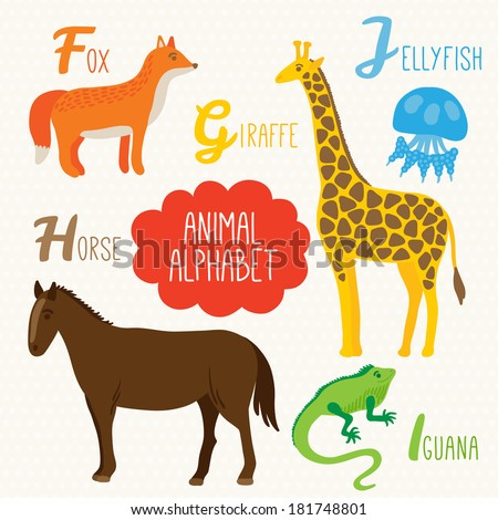Alphabet for kids with animals. Letters F, G, H, I, J. Fox, Giraffe, Horse, Iguana, Jellyfish