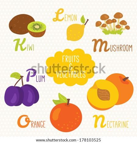 Alphabet for kids with fruits and vegetables. Letters K, L, M, N, O, P. Kiwi, Lemon, Mushroom, Nectarine, Orange, Plum  Foto stock ©