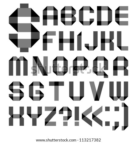 Alphabet from a paper transparent tape - Roman alphabet (A, B, C, D, E, F, G, H, I, J, K, L, M, N, O, P, Q, R, S, T, U, V, W, X, Y, Z)
