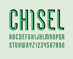 Alphabet from chiseled block, green font, beveled letters (A, B, C, D, E, F, G, H, I, J, K, L, M, N, O, P, Q, R, S, T, U, V, W, X, Y, Z) and numerals (0, 1, 2, 3, 4, 5, 6, 7, 8, 9), vector 10EPS