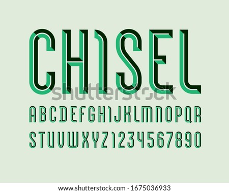 Alphabet from chiseled block, green font, beveled letters (A, B, C, D, E, F, G, H, I, J, K, L, M, N, O, P, Q, R, S, T, U, V, W, X, Y, Z) and numerals (0, 1, 2, 3, 4, 5, 6, 7, 8, 9), vector 10EPS Stock fotó ©