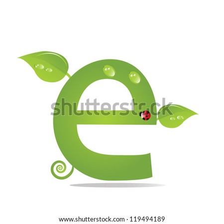 Alphabet from green leaf, eco concept