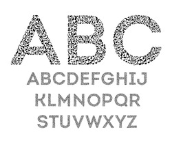 Alphabet from musical notes on white background. Font for music school. Isolated set of letters. Black and white design.