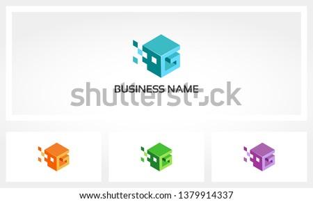 Alphabet G Letter Block Pixel Cube Logo