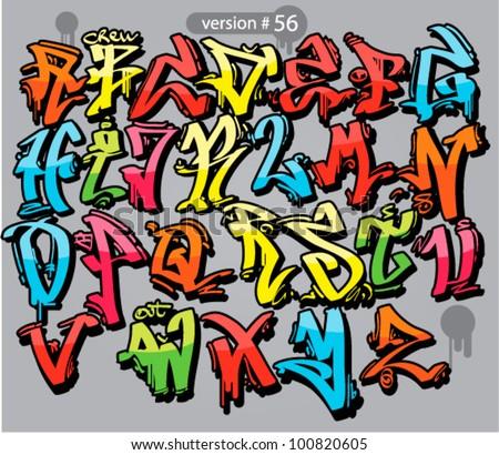 Alphabet graffiti style urban font stock vector