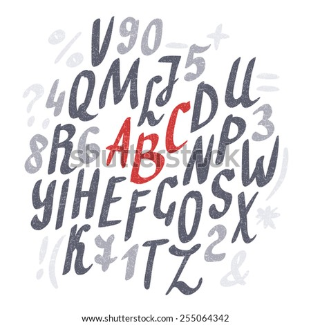 Alphabet. Hand drawn letters. Vector.
