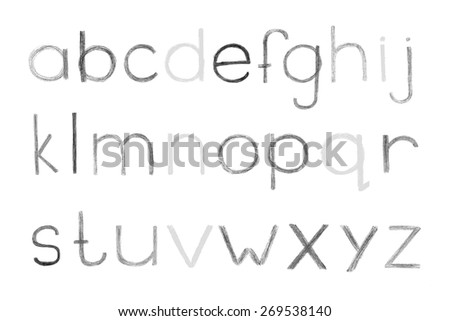 Alphabet Hand Drawn With Lead Pencils Sketched Letters In Childish Style Vector Illustration