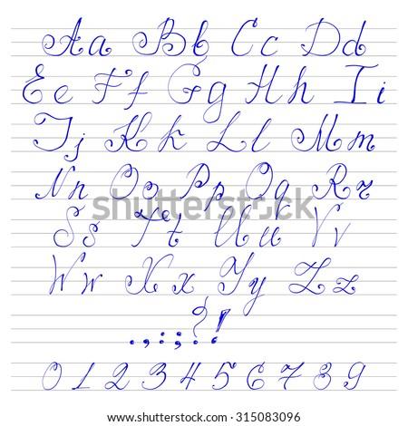 Worksheets Alfabate Handriting alphabet in handwriting reocurent fonts stock vector 315083096 shutterstock