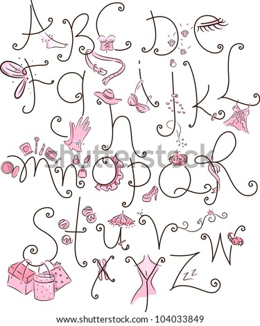 Girly Alphabet Fonts Alphabet Illustration with a