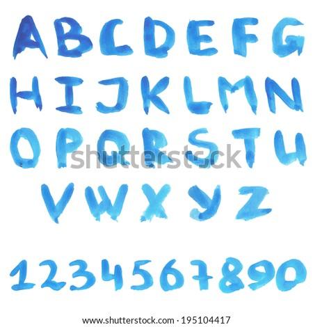 Alphabet in blue colors. Watercolor paint. Vector.