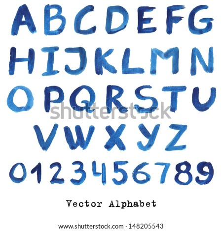 Alphabet in blue colors. Watercolor paint. Vector.numbers and letters in words for design illustration , backgrounds , textures , wallpaper,computer technologies,creation of clothing.