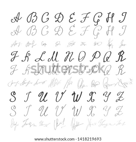 Alphabet in English. Hand drawn typeface. Letters handwritten in modern calligraphy style for logo design, poster, print. Alphabetical signature for each letter of the alphabet - Vector illustration