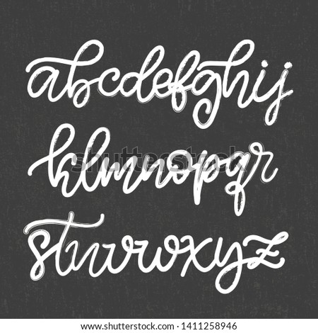 Alphabet in English with chalk texture. Hand drawn typeface, lettering script font. Lowercase letters handwritten in modern calligraphy style for logo design, poster, print. Vector illustration EPS10.