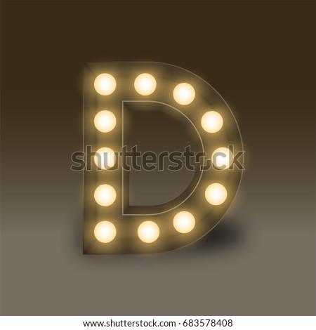 Alphabet Incandescent light bulb box set letter D, illustration retro 3D style isolated glow in dark background