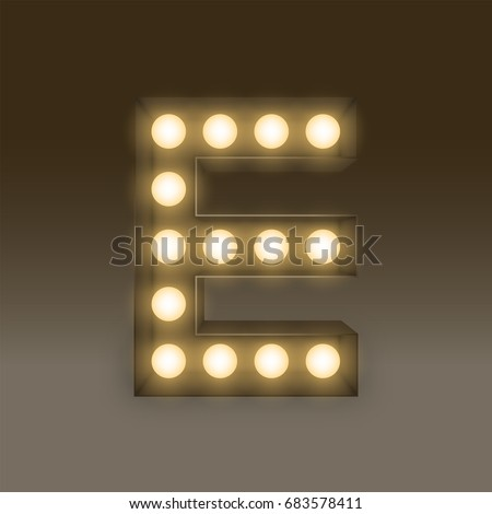 Alphabet Incandescent light bulb box set letter E, illustration retro 3D style isolated glow in dark background
