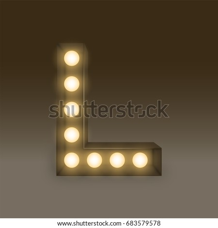 Alphabet Incandescent light bulb box set letter L, illustration retro 3D style isolated glow in dark background
