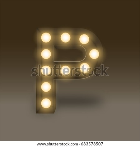 Alphabet Incandescent light bulb box set letter P, illustration retro 3D style isolated glow in dark background
