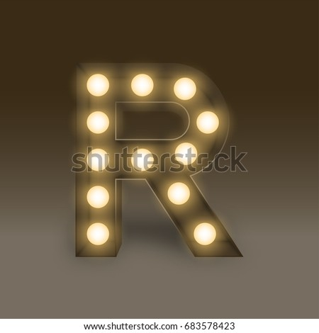 Alphabet Incandescent light bulb box set letter R, illustration retro 3D style isolated glow in dark background