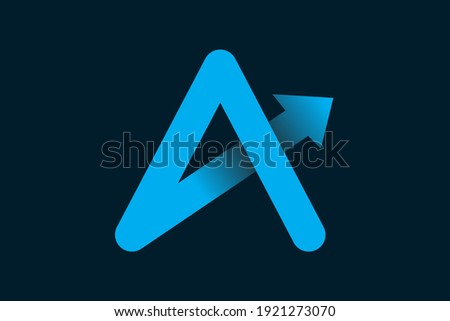 alphabet Letter A Arrow Logo Design Element. iconic a logo. a letter flat style vector for business company Photo stock ©
