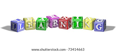 Alphabet letter blocks forming the word learning