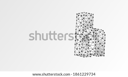 Alphabet letter H. Abstract digital wireframe, low poly mesh, vector white origami 3d illustration. Design of a lowercase letter. Banner, template or a pattern. Triangle, line, dot Photo stock ©