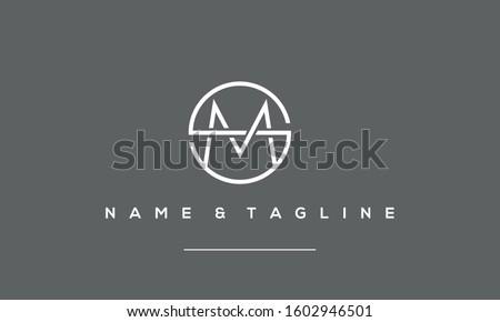 Alphabet Letter Icon Logo SM or MS Foto stock ©