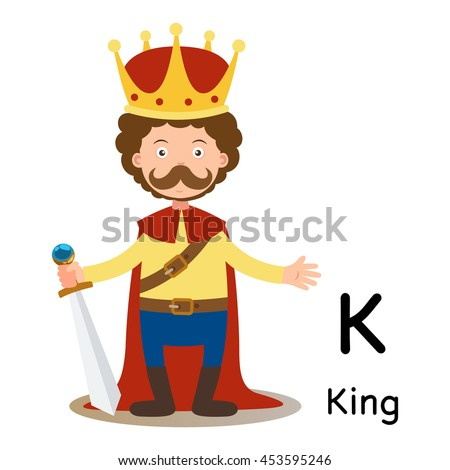 alphabet letter k king vector